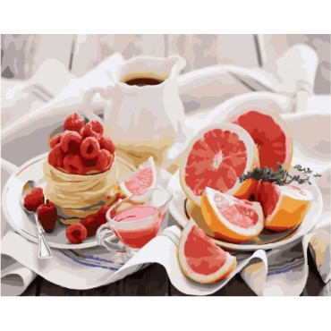 Грейпфрут, малина картина по номерам 40х50