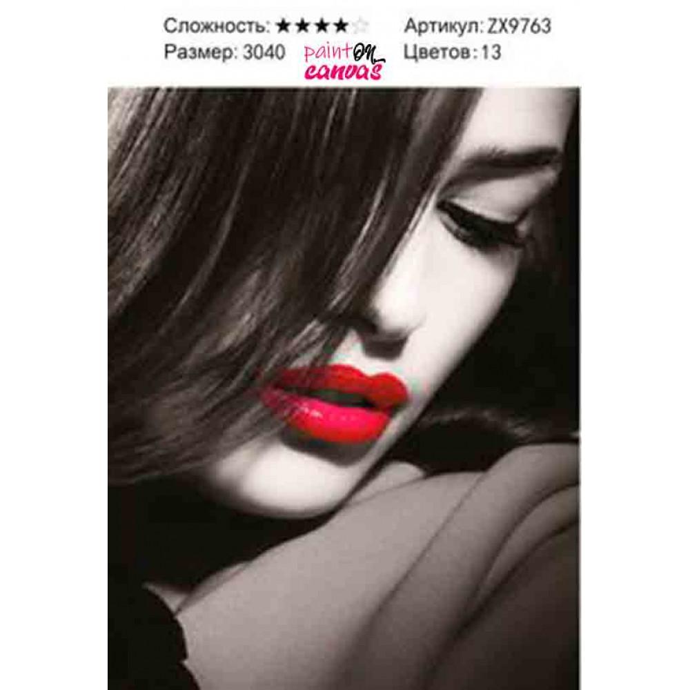 Девушка с красными губами 30х40 мозаика