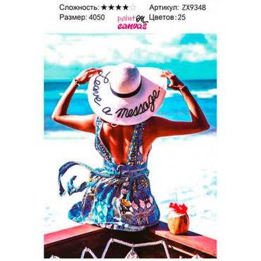 Девушка в отпуске алмазная мозаика 40х50