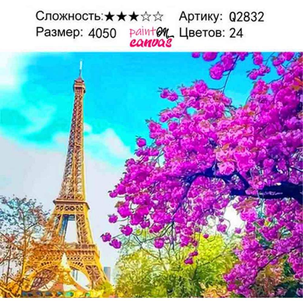 Достопримечательность Парижа 40х50 раскраска по номерам