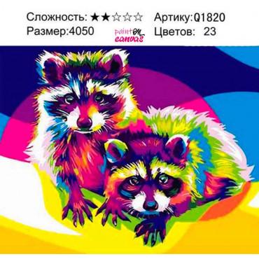 Яркие еноты картина по номерам 40х50