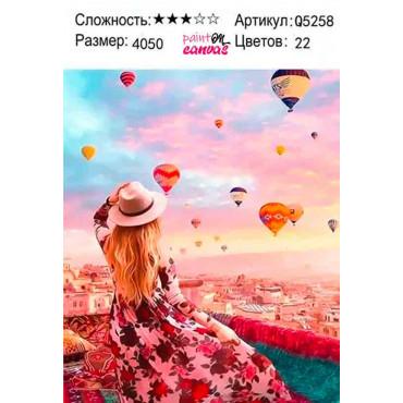 Девушка и воздушные шары 40х50 раскраска