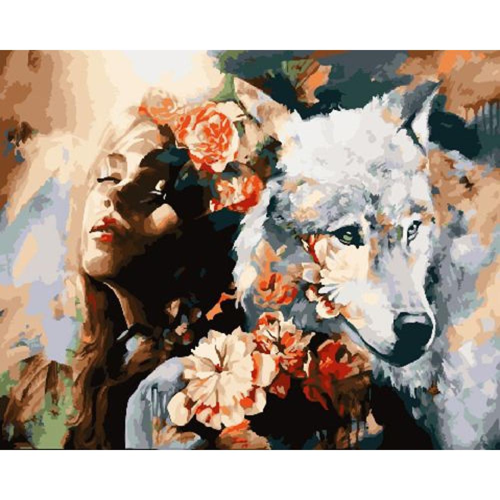 Абстракция девушка и волк картина по номерам 40х50