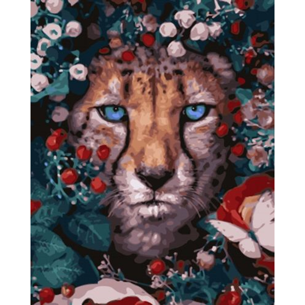 Гепард в цветах картина по номерам 40х50