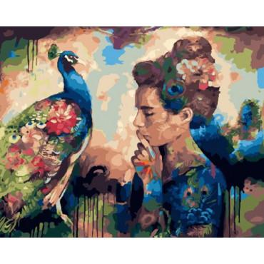 Девушка и павлин картина по номерам 40х50