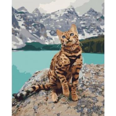 Бенгальская кошка в горах картина по номерам 40х50