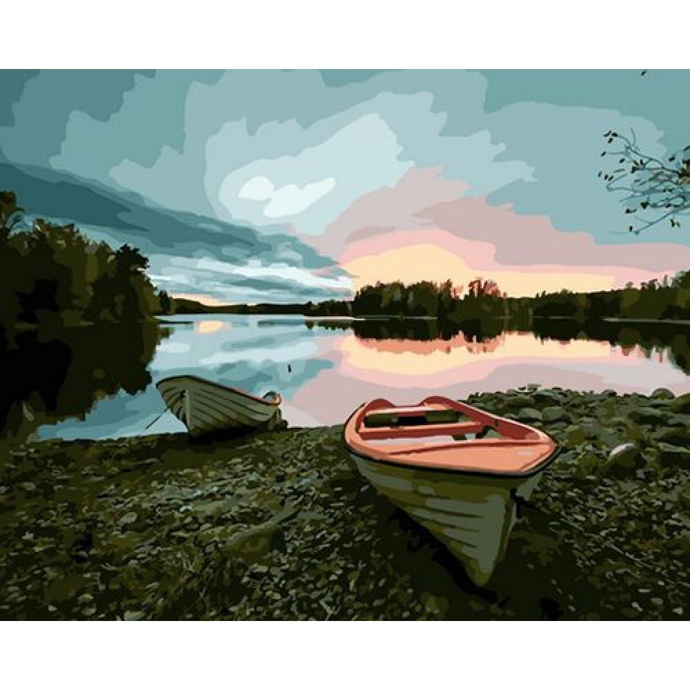 Лодки на рассвете картина по номерам 40х50