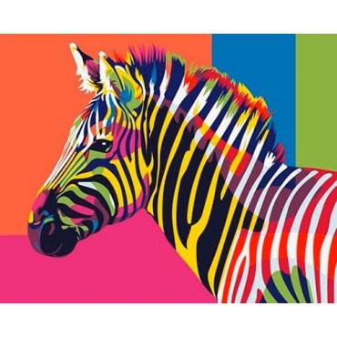 Разноцветная зебра картина по номерам 40х50