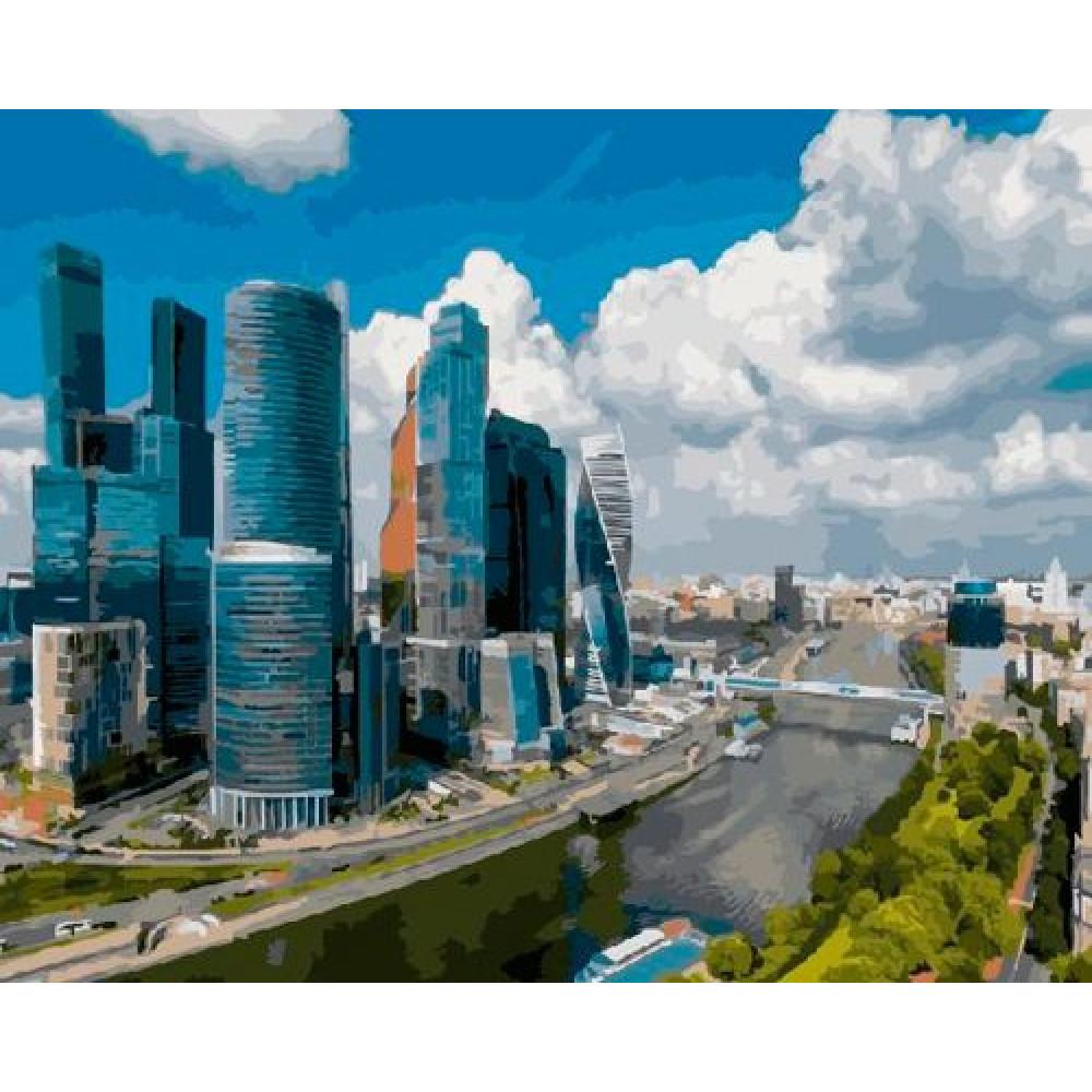 Москва-Сити картина по номерам 40х50