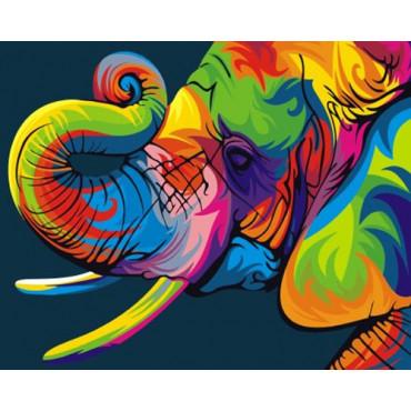 Радужный слон картина по номерам 40х50
