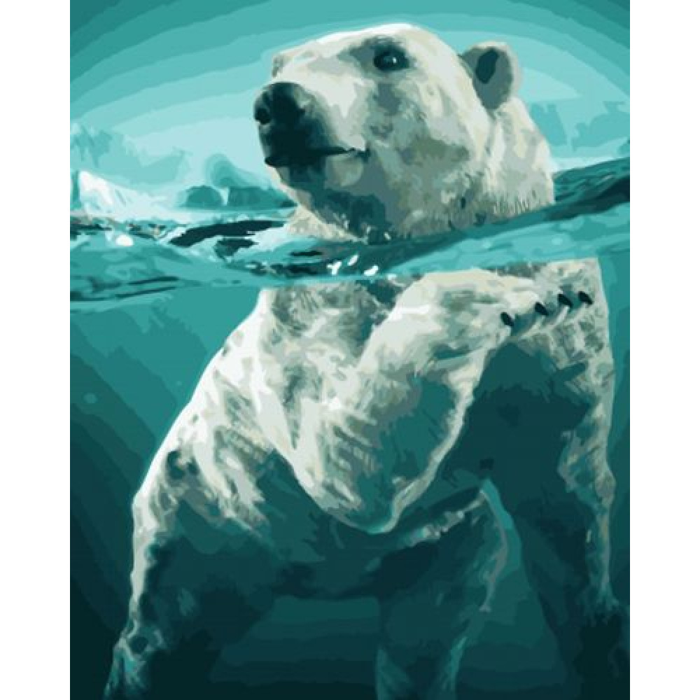 Белый медведь картина по номерам 40х50