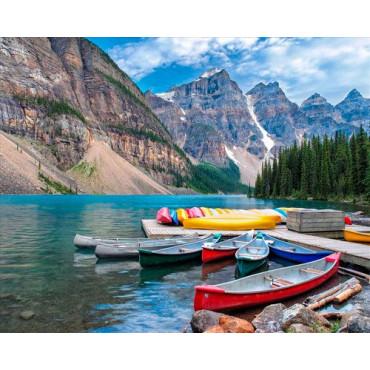 Разноцветные лодки картина по номерам 40х50