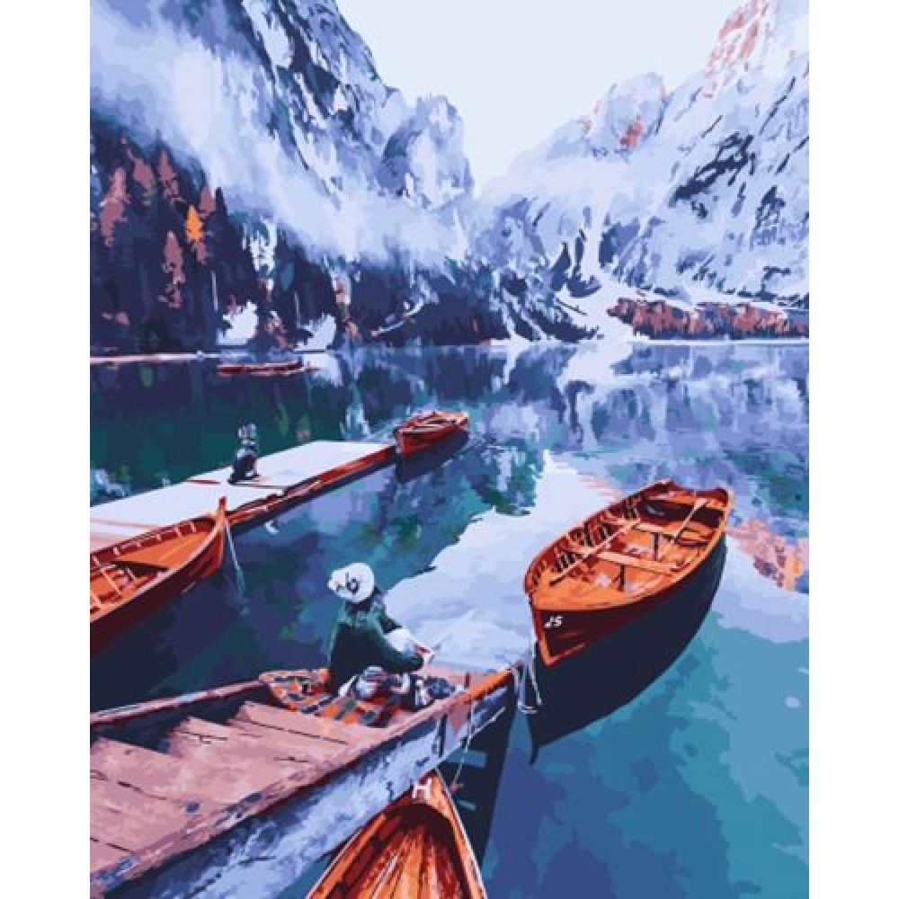 Лодки в горах картина по номерам 40х50