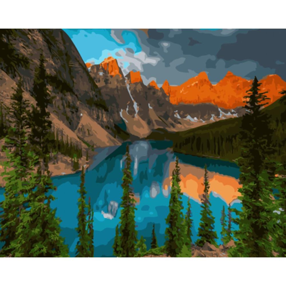 Озеро на закате картина по номерам 40х50