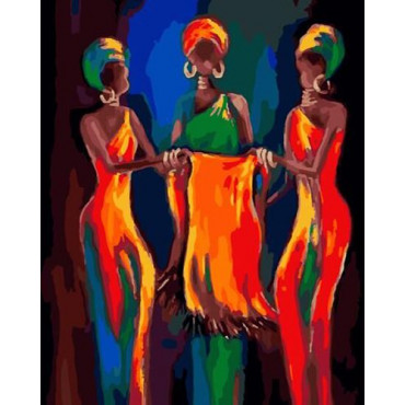 Силуэт афроамериканок картина по номерам 40х50