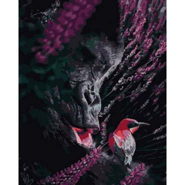 Горилла и птичка картина по номерам 40х50