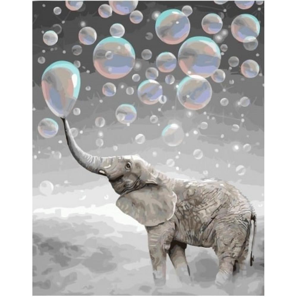 Слон и мыльные пузыри картина по номерам 40х50