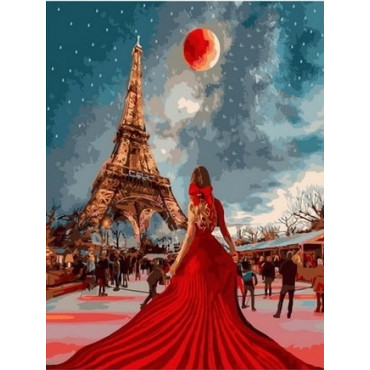Женщина, париж, космос картина по номерам 40х50