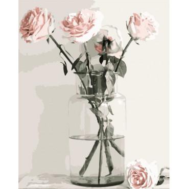 Белые розы картина по номерам 40х50