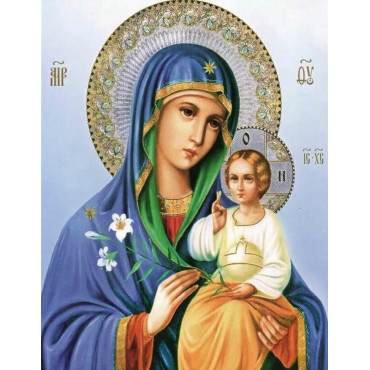 Икона Богородицы алмазная мозаика 40х50