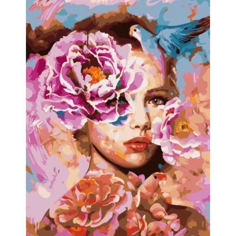 Абстракция женщины с цветами картины по номерам недорого
