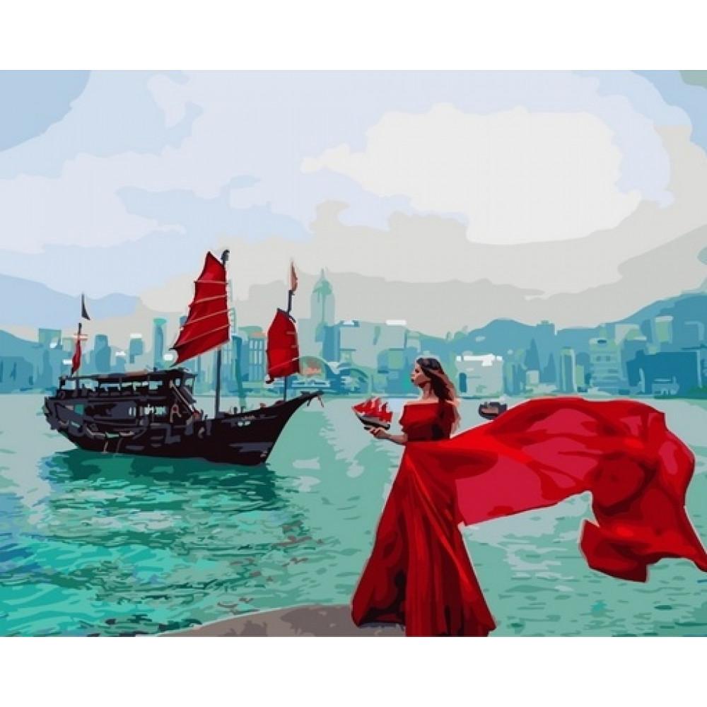 Девушка у моря картина по номерам 40х50