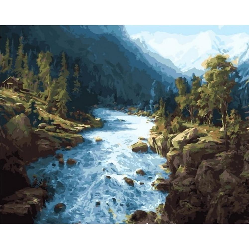 Горная река картина по номерам 40х50