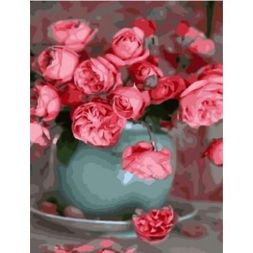 Чайные розы в вазе картина по номерам 40х50