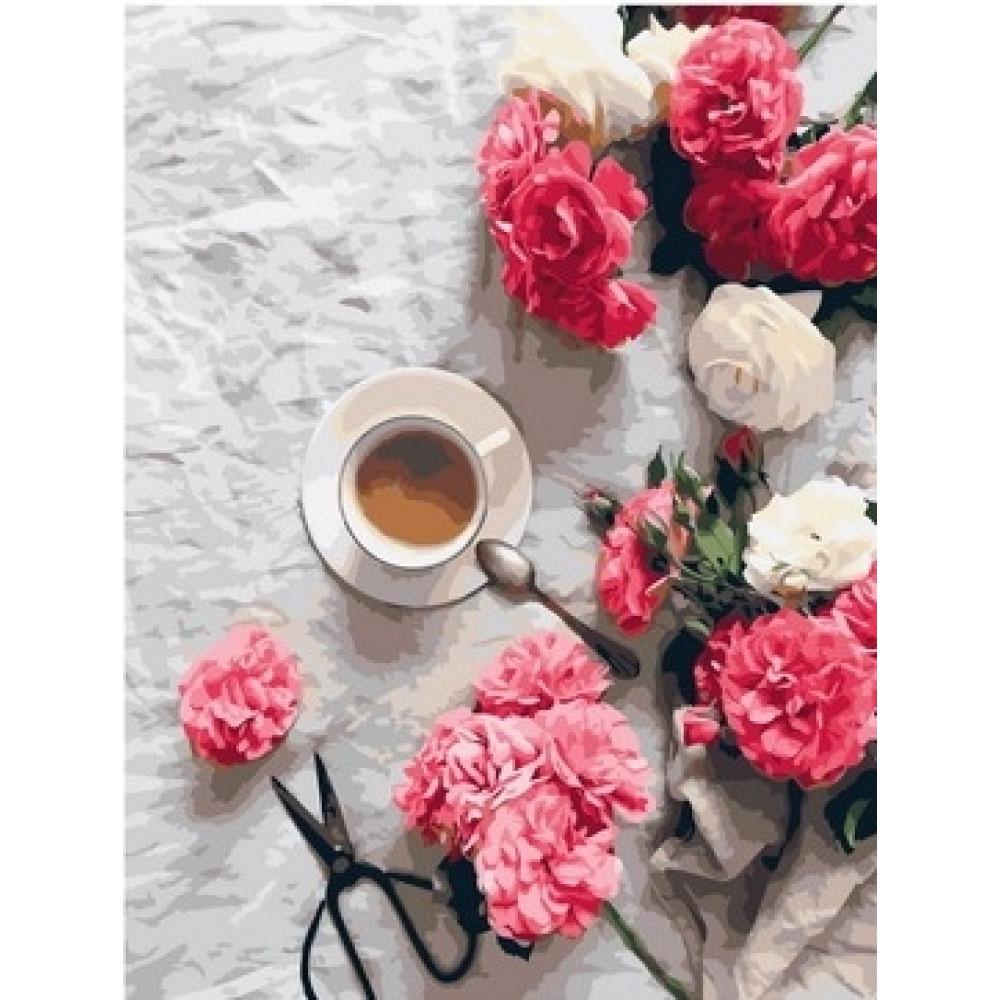Гвоздики, розы, кофе картина по номерам 40х50