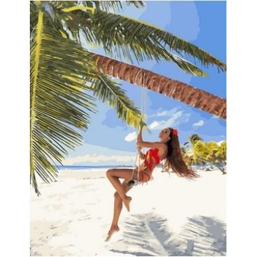 Женщина на пальме картина по номерам 40х50