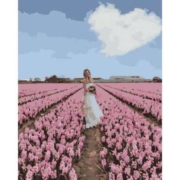 Женщина собрала цветы картина по номерам 40х50