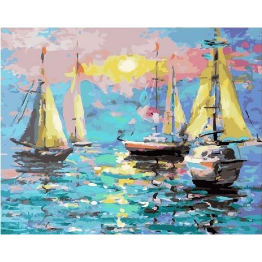 Бухта кораблей картина по номерам 40х50