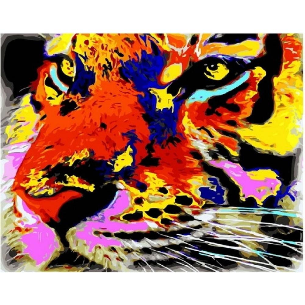Тигр картина по номерам 40х50