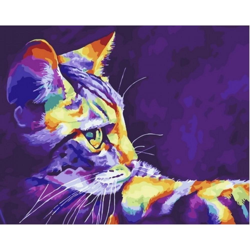 Кот картина по номерам 40х50