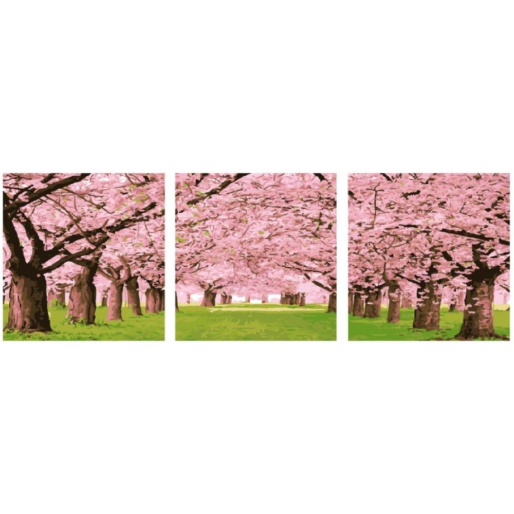 Цветочная сакура триптих 3 шт